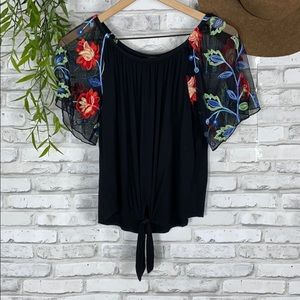 Boho floral top with sheer sleeves size small